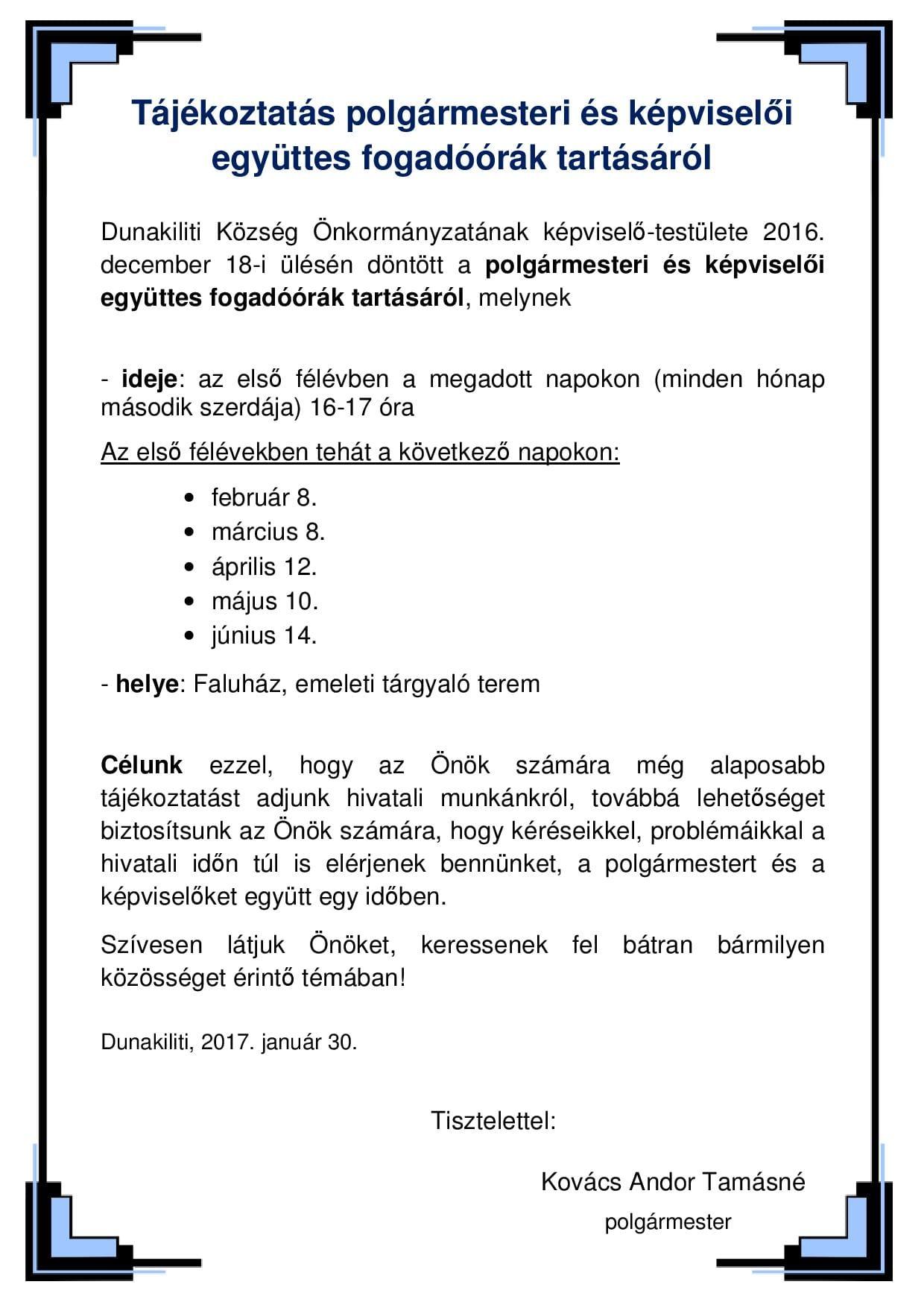 Tájékoztatás polgármesteri és képviselői együttes fogadóórák tartásáról_új